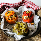 Chicken Mushroom Barley Stuffed Peppers