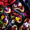 Cherry Mint Goat Cheese Crostini