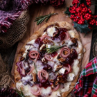 Lingonberry Brie Naan Pizza