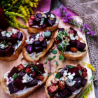 Roasted Beetroot Pancetta Bruschetta