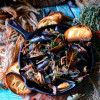 White Wine Prosciutto Steamed Mussels
