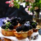Blackberry Lavender Goat Cheese Crostini