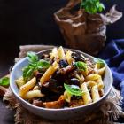 Eggplant Walnut Basil Pasta