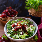 Roasted Grape Feta Hazelnut Salad