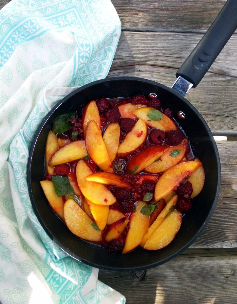 Peach Raspberry Basil Pasta | Havocinthekitchen.com