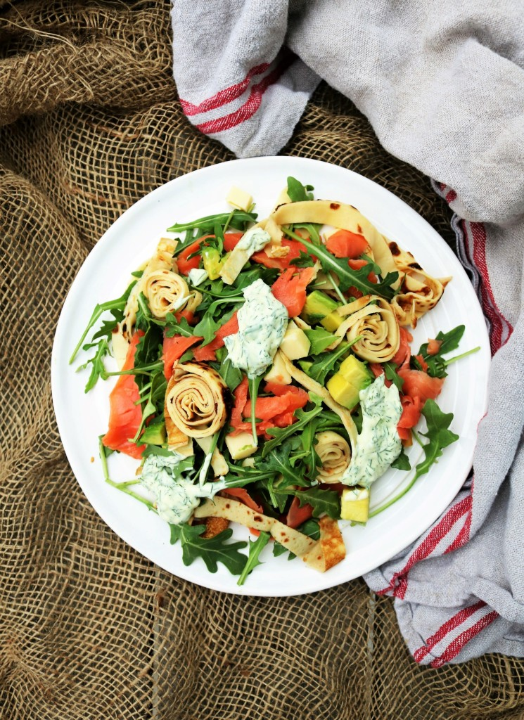 Smoked Salmon Avocado Crepes Salad|Havocinthekitchen.com