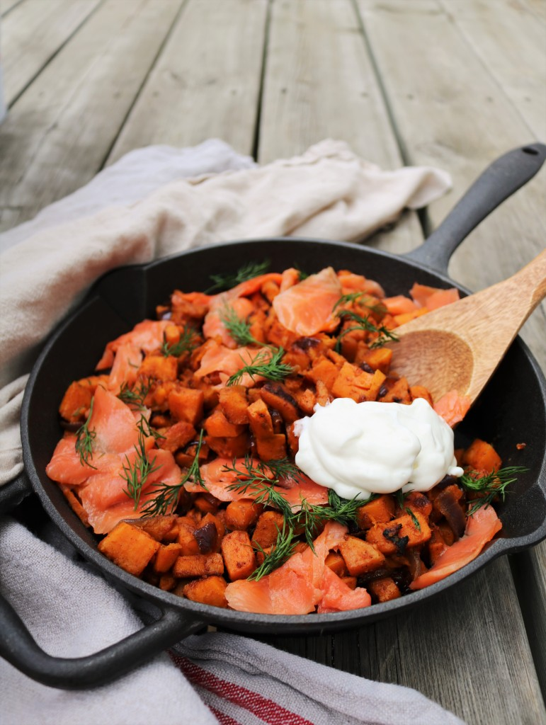 Smoked Salmon Sweet Potato Hash|Havocinthekitchen.com