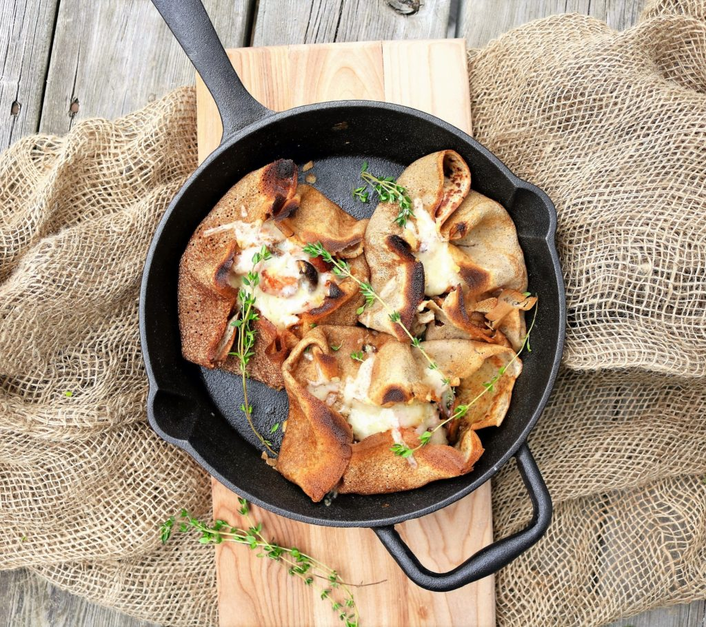 Mushroom Ham Cheddar Buckwheat Crepes|Havocinthekitchen.com