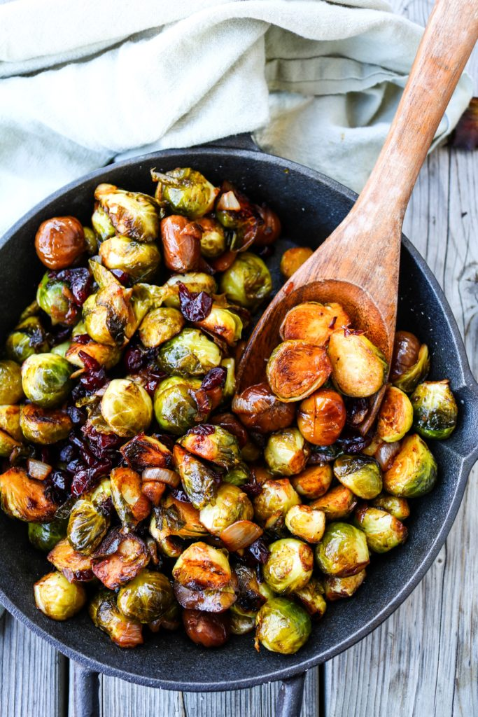 Chestnut Cranberry Roasted Brussels Sprouts|Havocinthekitchen.com