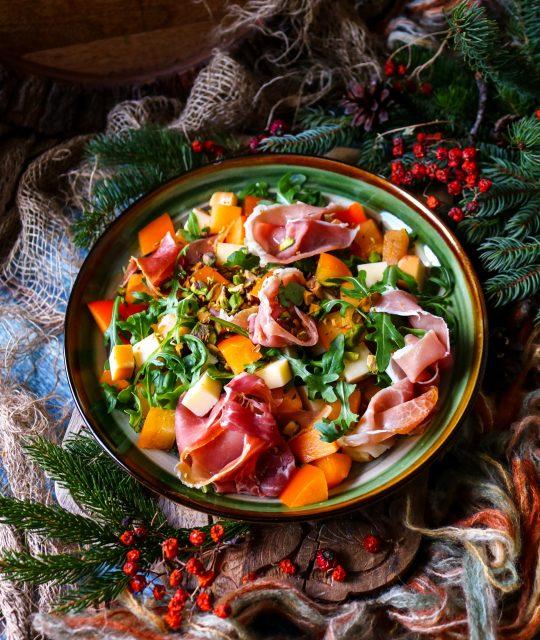 Persimmon Prosciutto Smoked Cheddar Salad