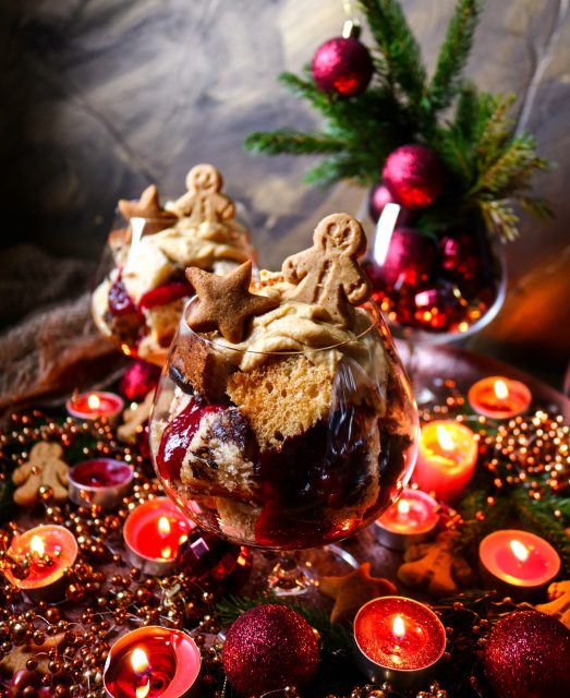 Gingerbread Cranberry Panettone Trifle
