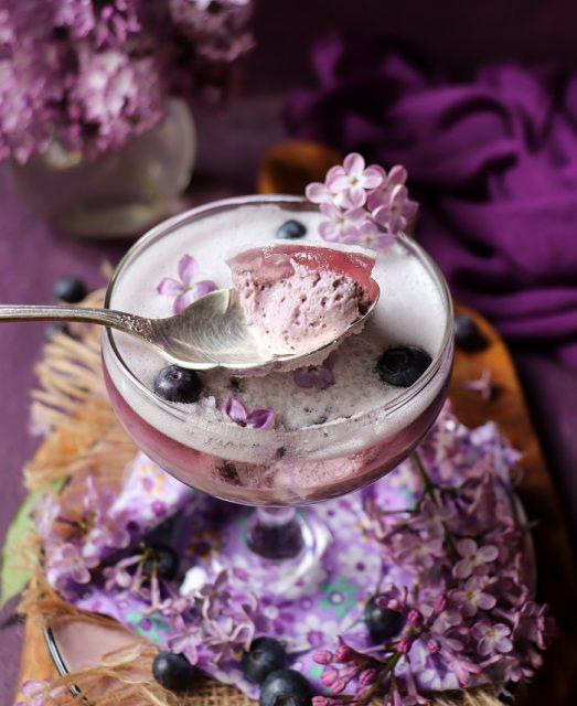 Blueberry Lilac Panna Cotta