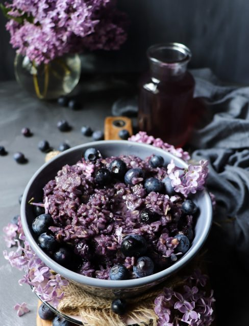 Blueberry Oatmeal with Lilac Syrup