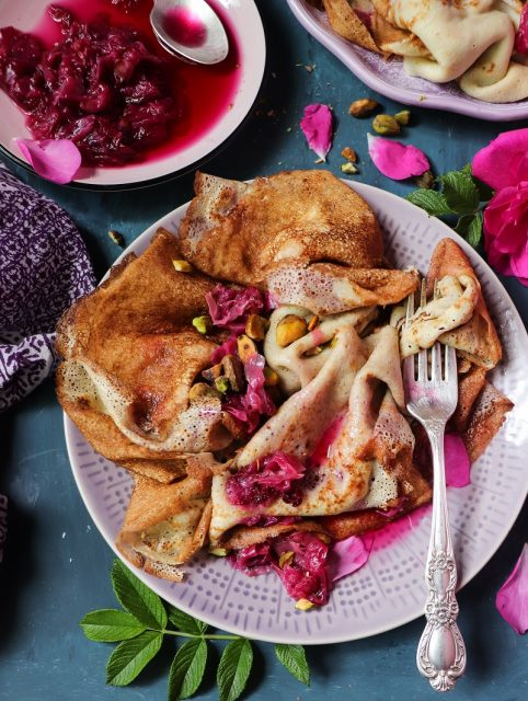 Crepes with Rose Jam