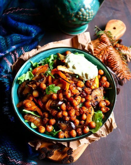 Eggplant Crispy Chickpea Salad