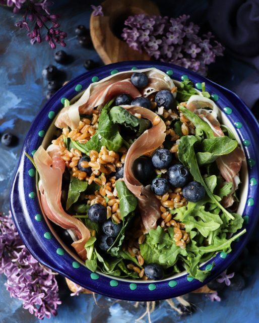 Farro Blueberry Prosciutto Salad