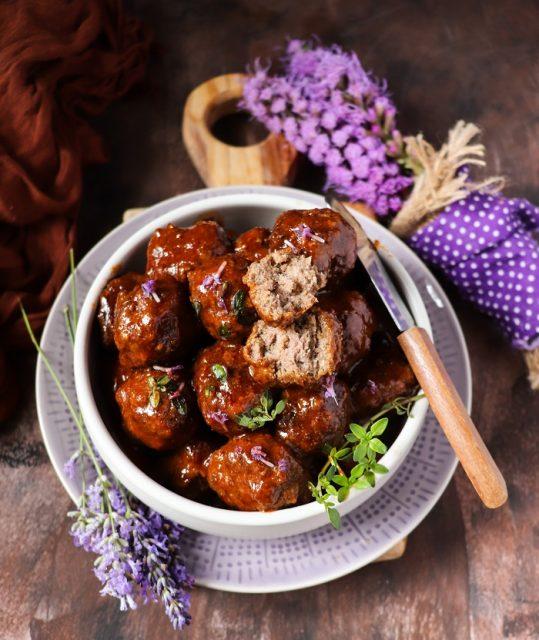 Lavender Barbeque Sauce Meatballs