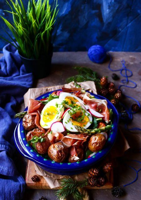 Potato Egg Prosciutto Salad